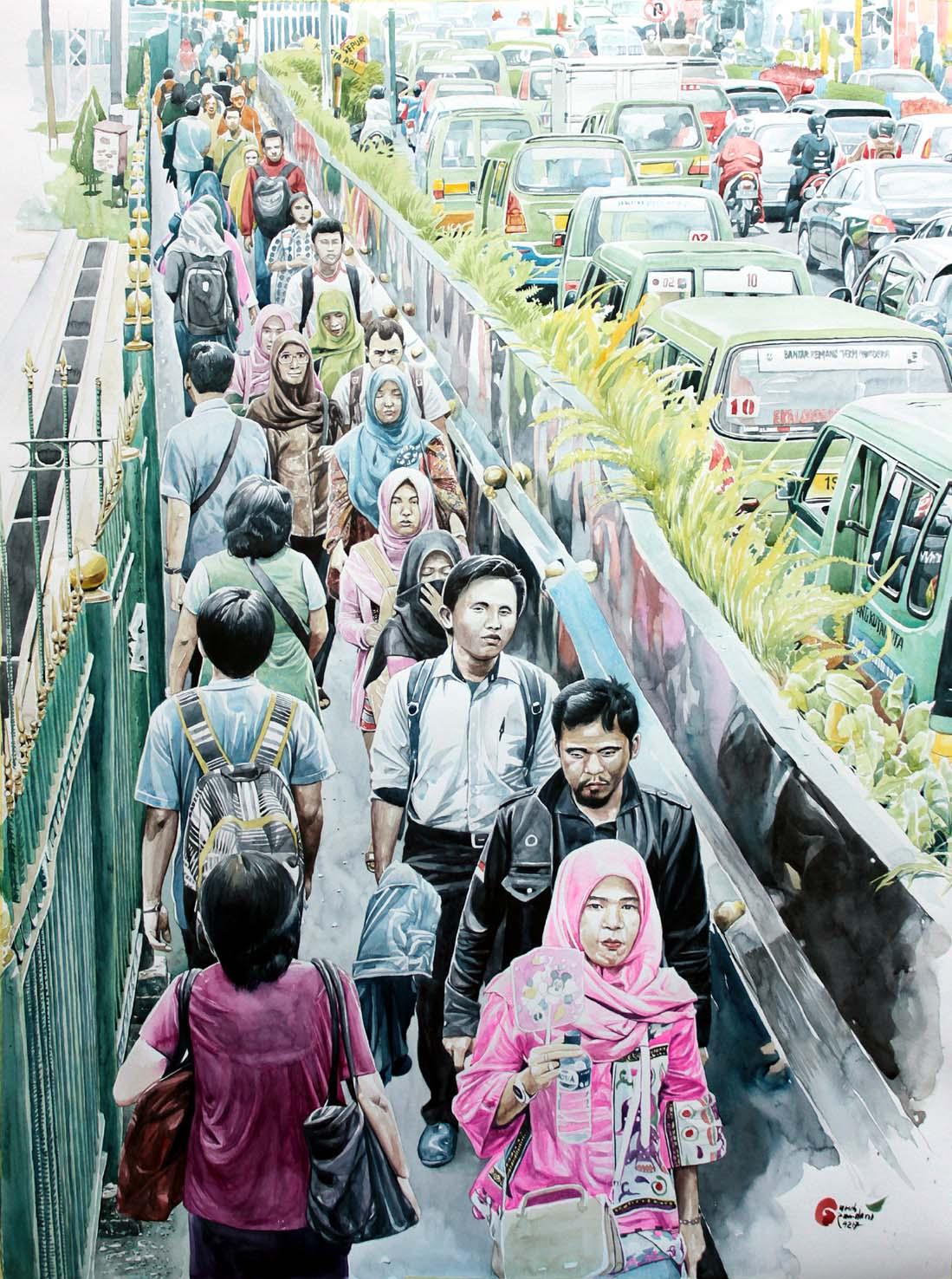 Ruas labirin Stasiun Bogor dalam sapuan cat air @RamdaniGuruh