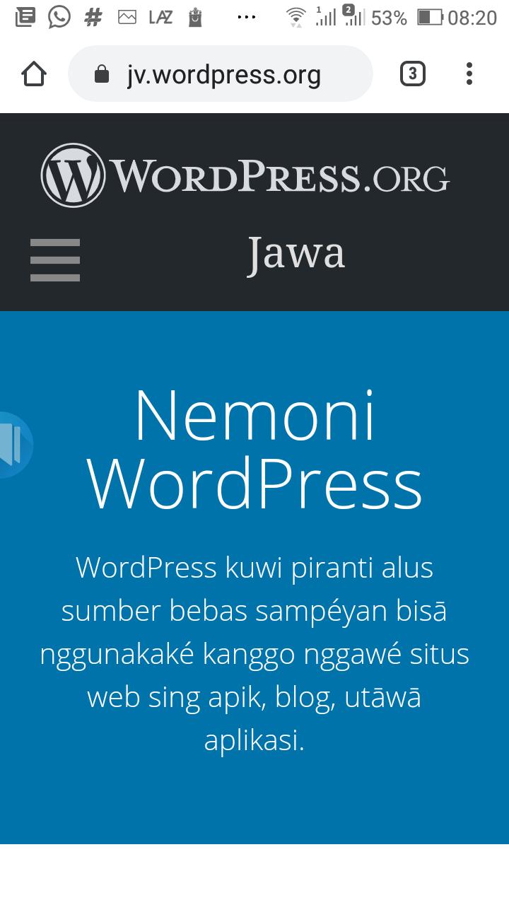 WordPress versi bahasa Jawa