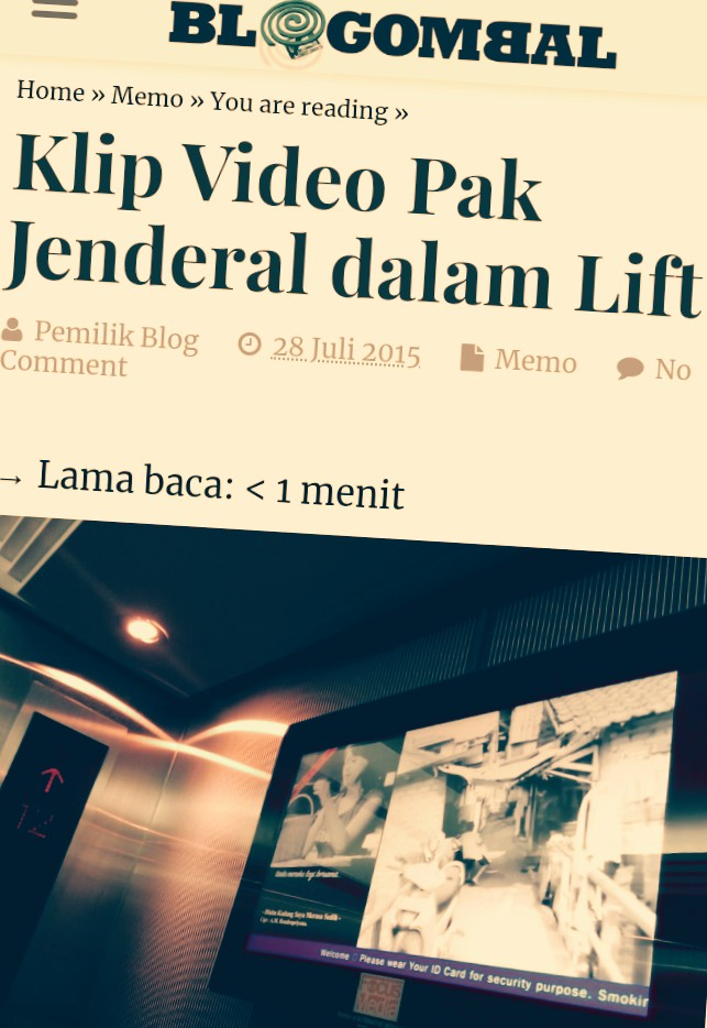 Video Hendropriyono dalam lift di kantor Slipi, Jakbar