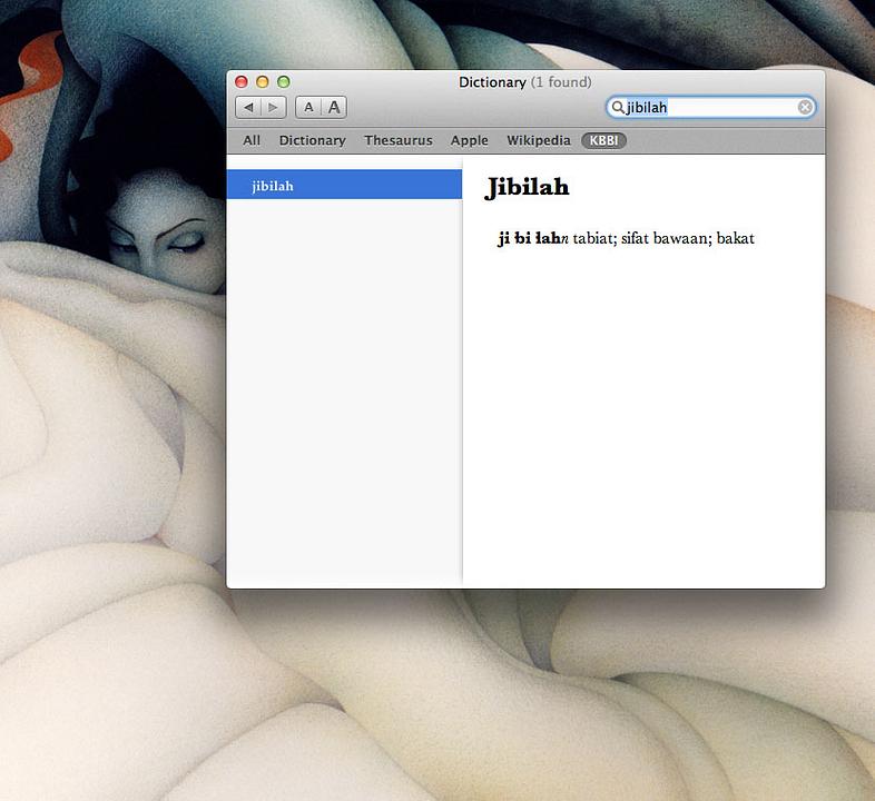 Kata jibilah dalam kamus Apple di iMac