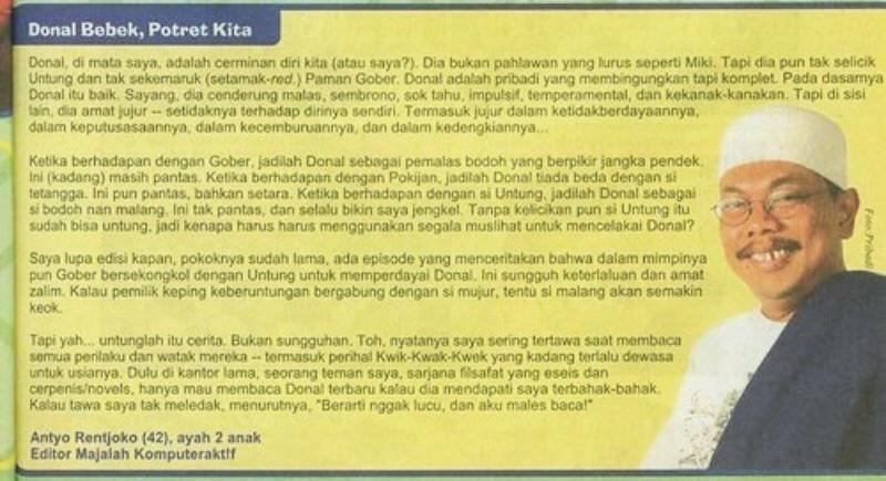 Jejak digital saya dalam Donal Bebek Indonesia dan 13 soal