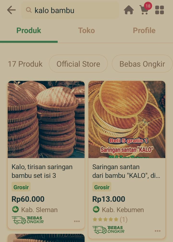 Kalo bambu dijual secara online
