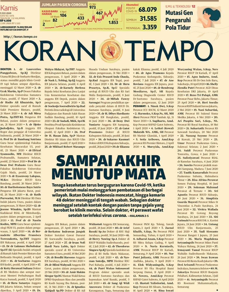 Daftar almarhum korban Covid-19 di Koran Tempo