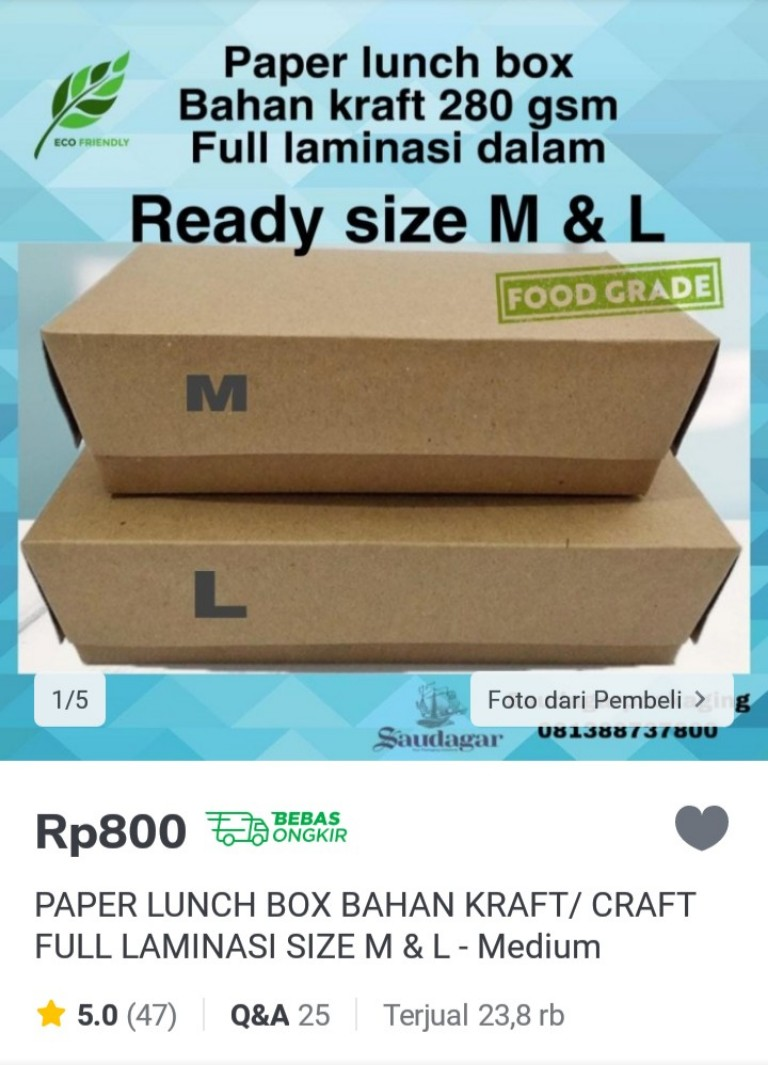 Lunch Box berbahan karton sebagai alternatif Styrofoam