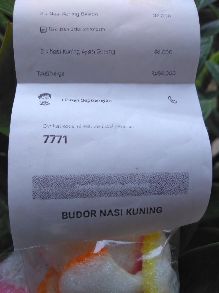 Setruk Gofood bergambar driver Gojek dari nasi kuning Budor