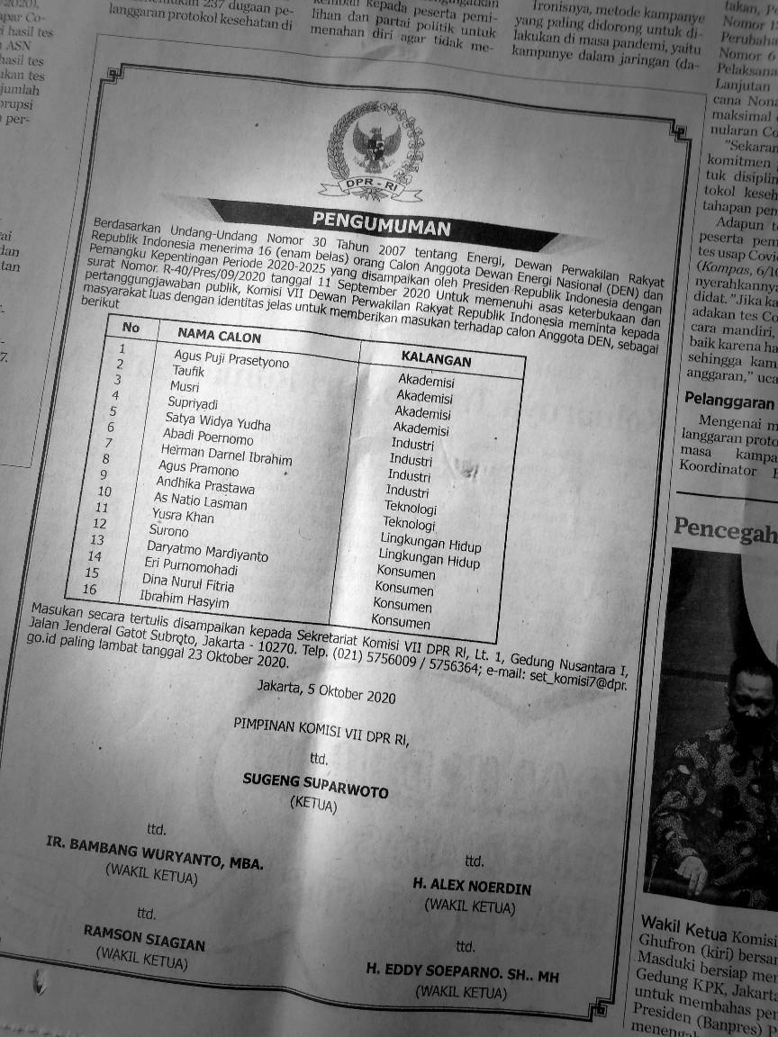 Iklan pengumuman seleksi calon anggota dewan energi nasional di Kompas