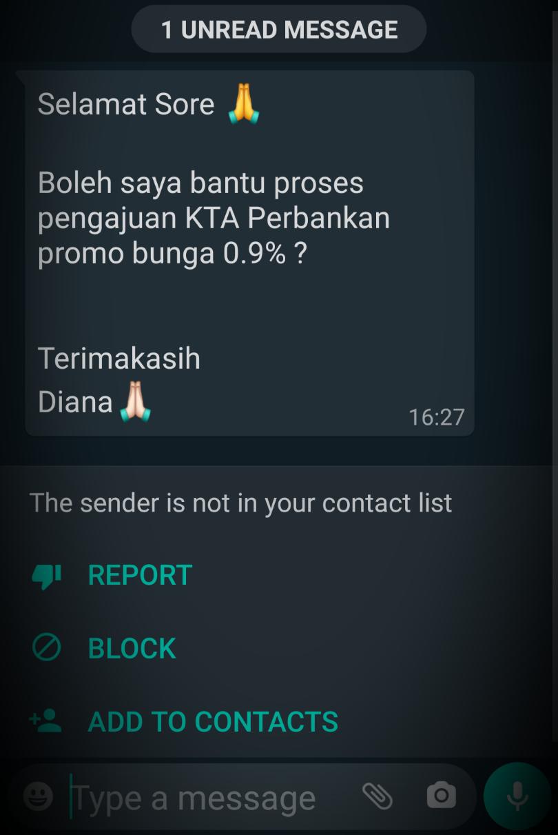 Cara sopan menawarkan KTA via WhatsApp