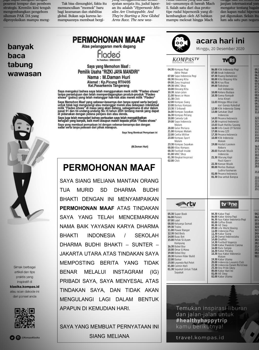 Kompas pasang iklan di koran sendiri berisi ajakan membaca