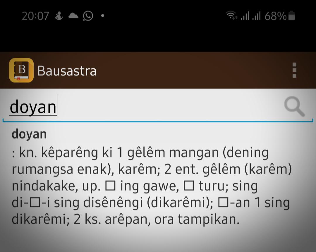 Perbedaan arti doyan dalam bahasa Jawa dan bahasa Indonesia