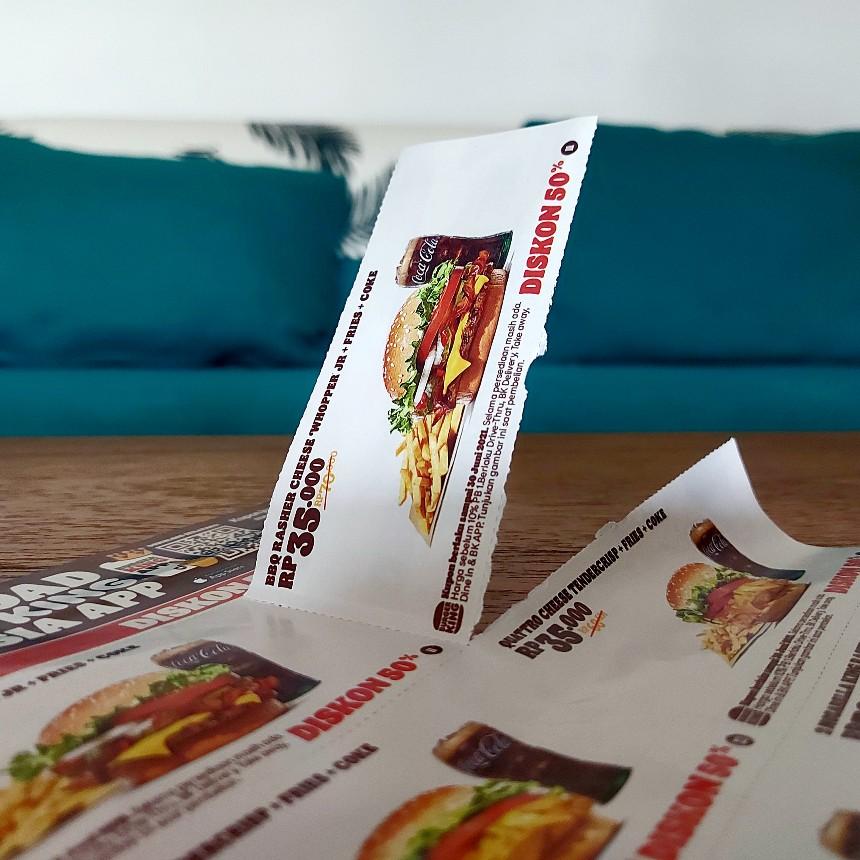 Kupon Burger King dalam selembar berisi 30