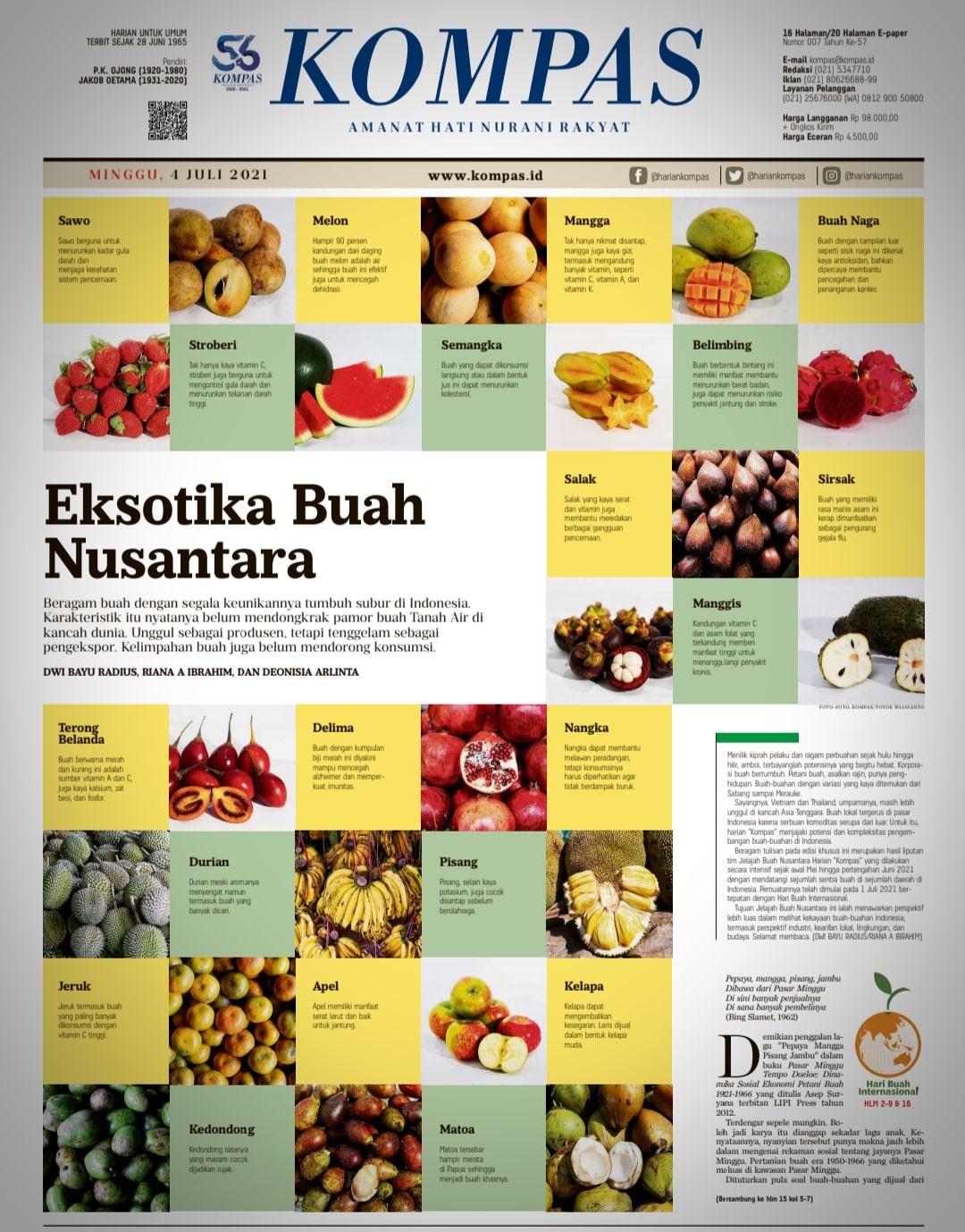 Kita dan anak kita kurang mengenal buah-buahan lokal
