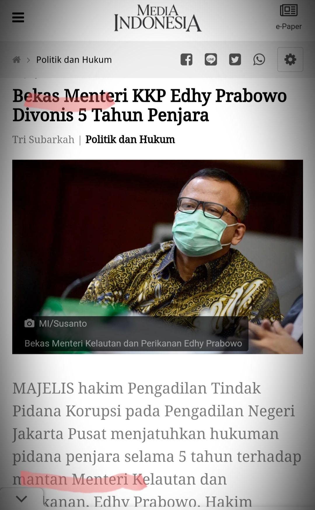 Penyebutan bekas menteri, bukan mantan menteri, itu boleh, tak melanggar hukum