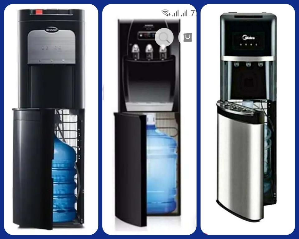 Dispenser galon bawah dengan pintu bukaan ke kiri