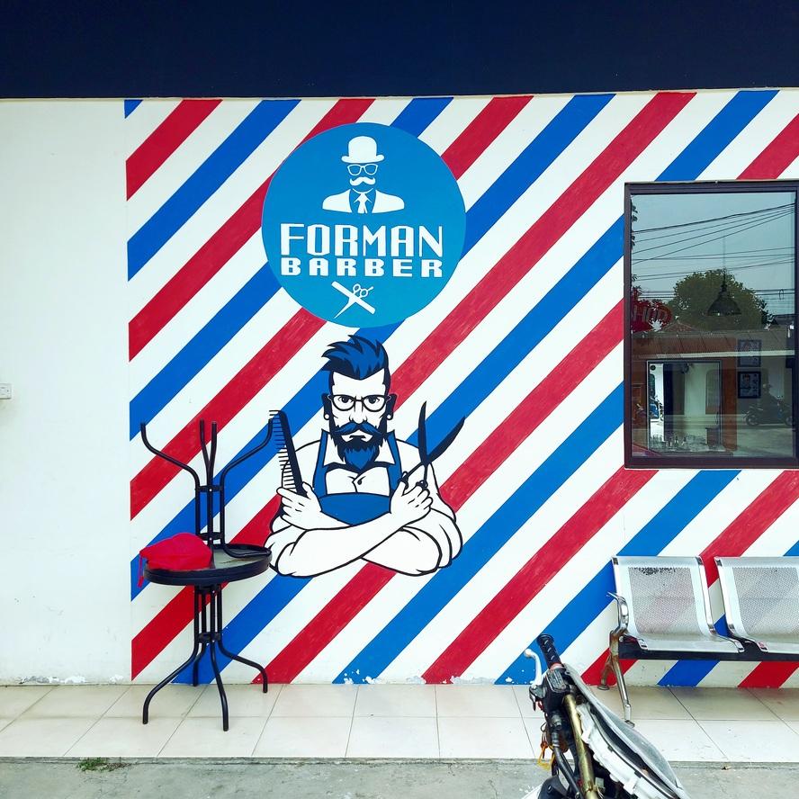 Unsur vintage dalam logo barber